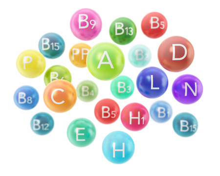dietetical: Colorful vitamin capsules isolated on white background. 3d illustration