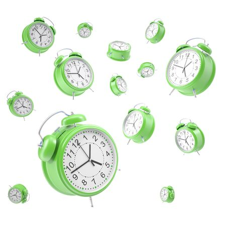 analog dial: Watches alarm floating in the air isolated on a white background. 3d illustration High resolution Stock Photo