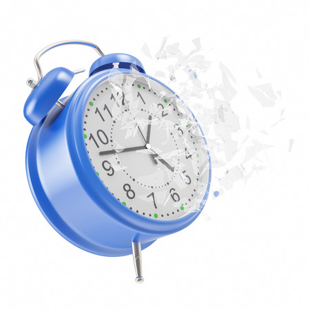 smithereens: Soaring Clock alarm clock with broken glass shattered into small pieces. 3d illustration High resolution