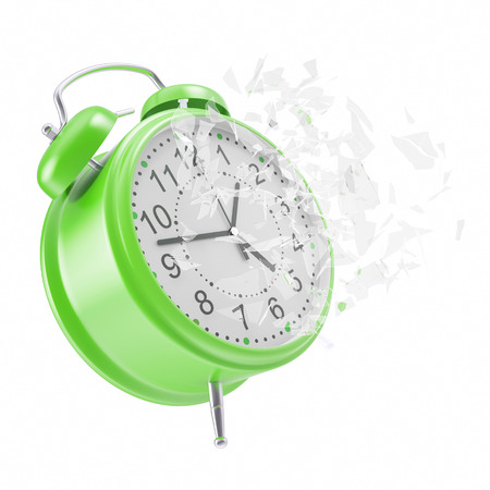 shattered glass: Soaring Clock alarm clock with broken glass shattered into small pieces. 3d illustration High resolution