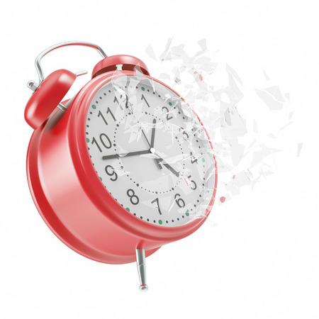 broken glass: Soaring Clock alarm clock with broken glass shattered into small pieces. 3d illustration High resolution