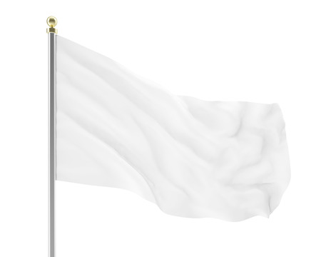 developing: 3d illustration of an empty white flag developing in the wind isolated on white background. High-resolution image Stock Photo