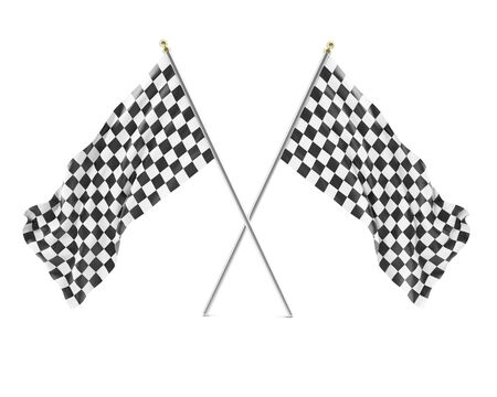Black & White racing flag isolated on a white background with shadows. 3d illustration High resolution illustration