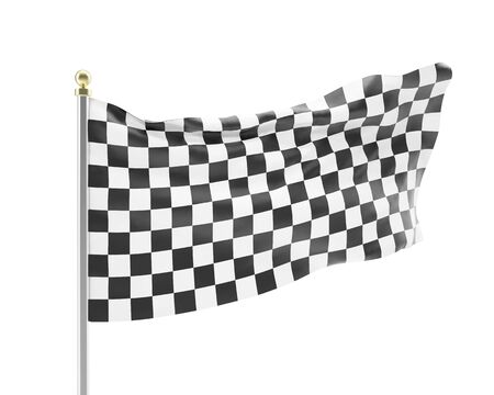 Black and white racing flag isolated on a white background. 3d illustration High resolution illustration