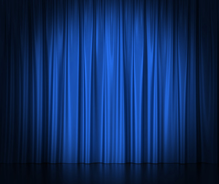 telon de teatro: Cortinas de seda azul para el teatro y el cine luz spotlit en el centro Foto de archivo