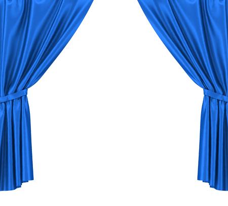 Blue silk curtains with garter isolated on white background Standard-Bild