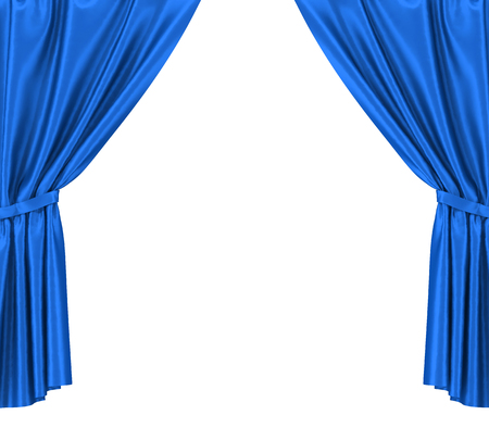 velvet: Blue silk curtains with garter isolated on white background Stock Photo
