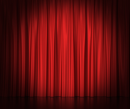 Red silk curtains for theater and cinema spotlit light in the center. 3d illustration High resolution