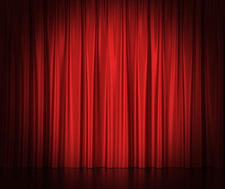 Rode zijden gordijnen voor het theater en de bioscoop spotlit licht in het centrum. 3d illustratie Hoge resolutie Stockfoto
