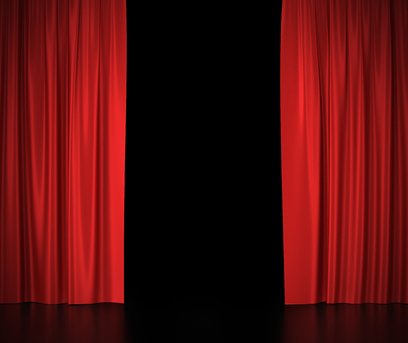 Open red silk curtains for theater and cinema spotlit light in the center