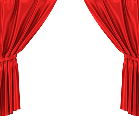 cortinas rojas: cortinas de seda de color rojo con la liga aislados sobre fondo blanco Foto de archivo