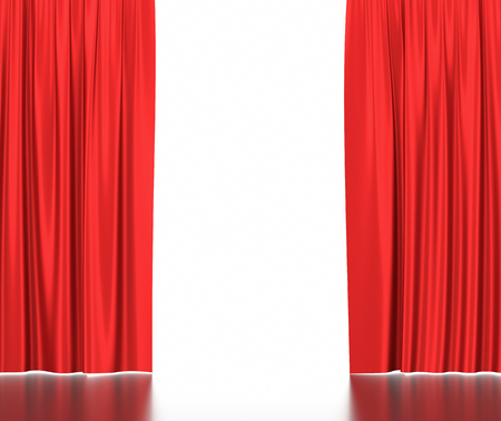 Open red silk curtains for theater and cinema with a white background Stockfoto