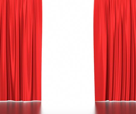 Open rode zijden gordijnen voor theater en cinema met een witte achtergrond