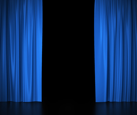 Open blue silk curtains for theater and cinema spotlit light in the center Stockfoto
