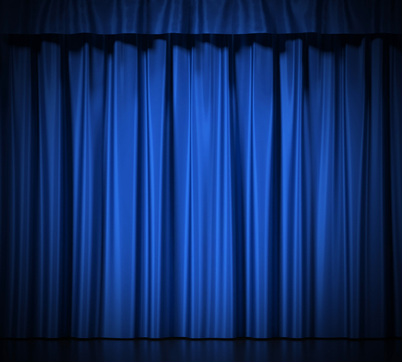 Blue silk curtains with garter