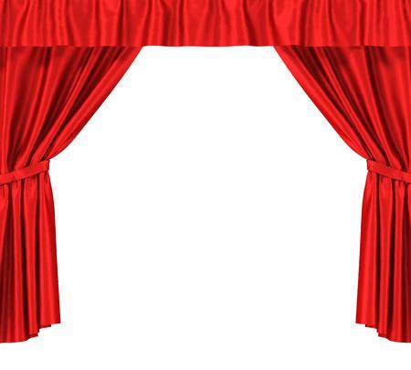 cortinas: Cortinas de seda azul con portaligas aisladas sobre fondo blanco