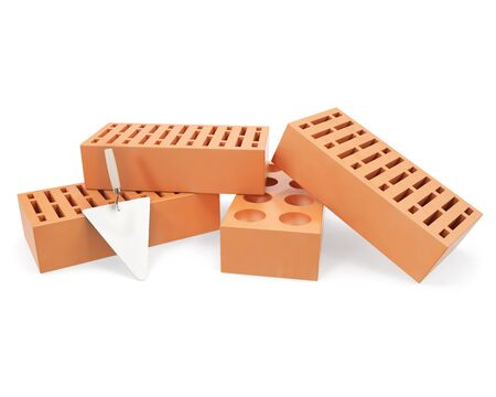 erection: Brick with trowel for construction, erection of buildings, isolated on a white background with shadows. 3d illustration High resolution