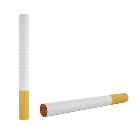 pernicious habit: Smoking a cigarette isolated on a white background, 3d illustration high resolution Stock Photo