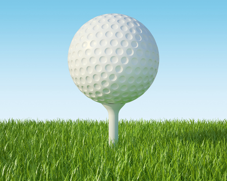 lawn grass: Golf ball on the green lawn, the grass with blue sky. 3d illustration High resolution