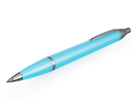 ball pens stationery: Metallic blue pen with reflection isolated on white background. 3d illustration High resolution