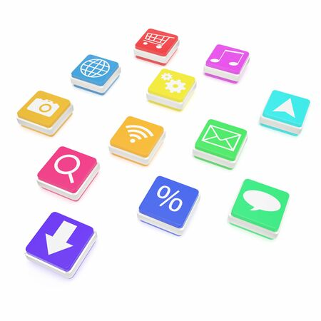 application icons: Concept, close-up view of colorful cube lying on the floor with application icons isolated on white background. High resolution 3D illustration