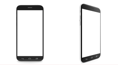 Smartphone, cell phone, with a blank screen isolated on white background with shadow. 3d illustration High resolution Stockfoto