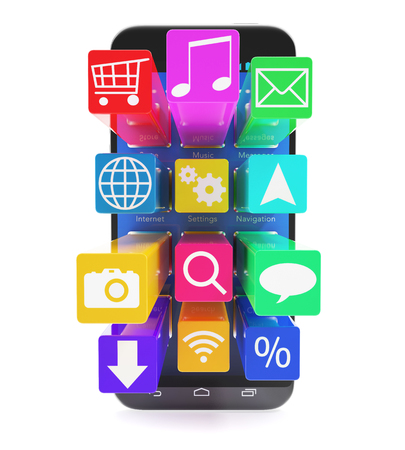 information median: Touchscreen smartphone with applications as icons extruded from the screen, isolated on a white background. 3d illustration High resolution Stock Photo