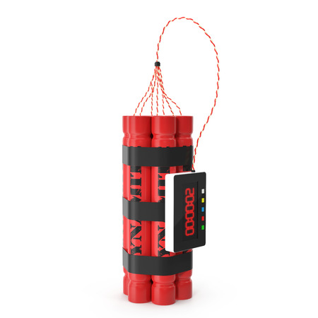tnt: TNT dynamite red bomb with a timer isolated on a white background. 3d illustration High resolution Stock Photo