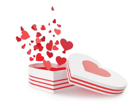love symbols: Open white gift box with flow hearts. 3d illustration High resolution