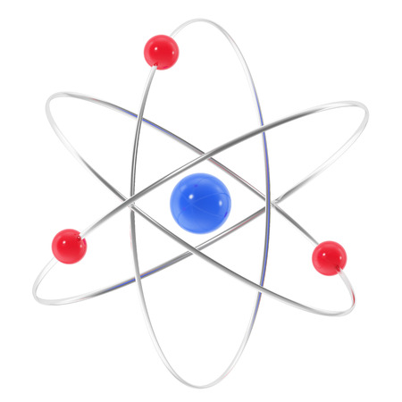 atomic symbol: Icon red and blue atom. 3d illustration