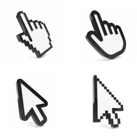 thumbs: Hand pointer on white background. 3d illustration