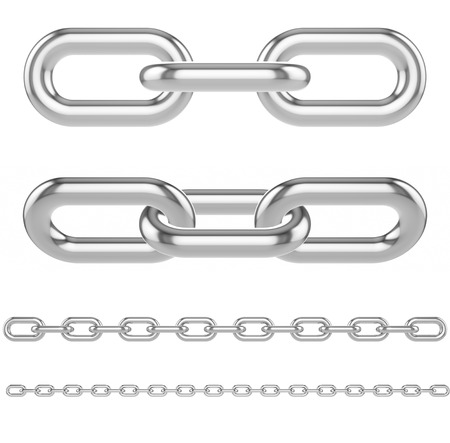 chain links: Set, collection of metal chain links isolated on a white background. 3d illustration