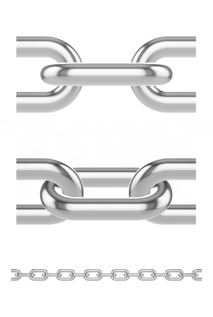 desired: Metal chain links. 3d the illustration is arranged to make it easier to extend to desired length. Stock Photo