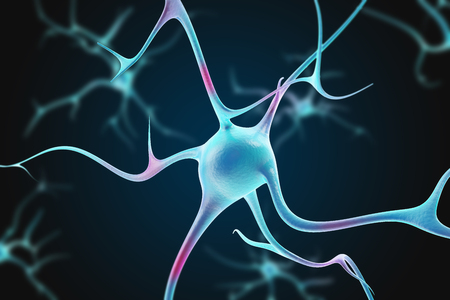 Neurons in the brain with depth of field effect. 3d illustration