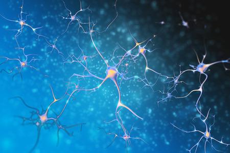 dendrites: Neurons of the nervous system cells. 3d illustration