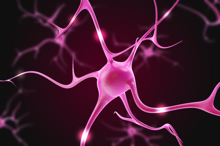 high scale magnification: Illustration of neurons in the brain on a purple background. 3d Stock Photo