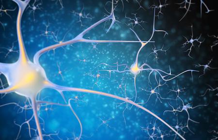 neuron: Las neuronas en el cerebro en un fondo negro y azul. 3d ilustraci�n