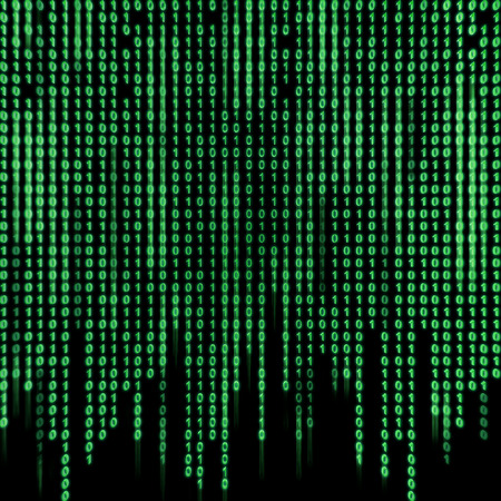 numerical code: Green binary stream on the screen in the style matrix. Stock Photo