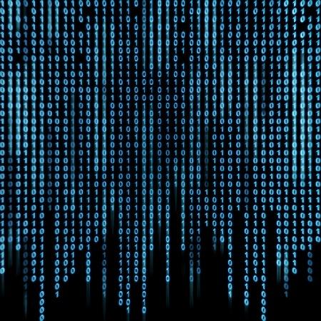 binary background: Blue binary stream on the screen in the style matrix. Stock Photo