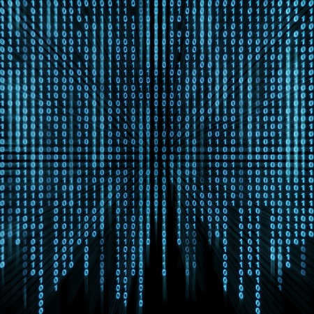 bytes: Blue binary stream on the screen in the style matrix. Stock Photo