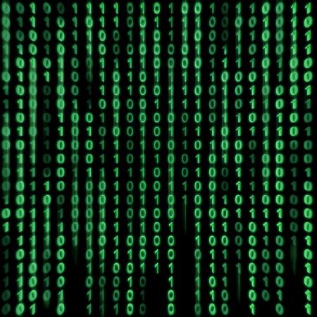 matrix: Green binary stream on the screen in the style matrix. Stock Photo