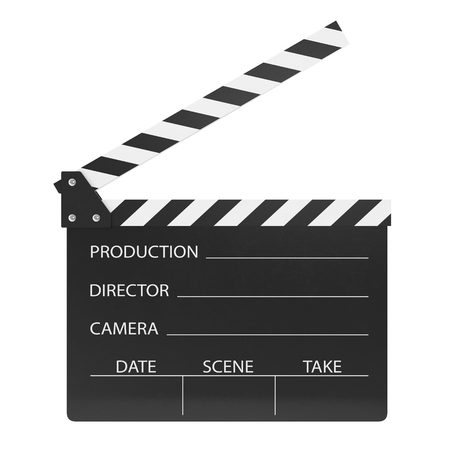 film title: Movie clapper isolated on white background. 3d illustration Stock Photo