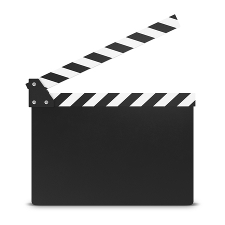 movie clapper: movie clapper board isolated on white background with shadow. 3d illustration Stock Photo