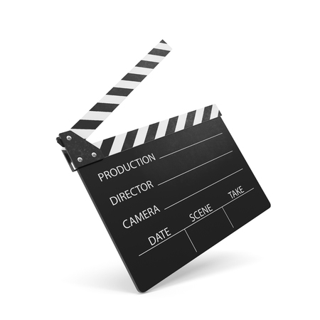 flick: Movie clapper isolated on white background. 3d illustration Stock Photo