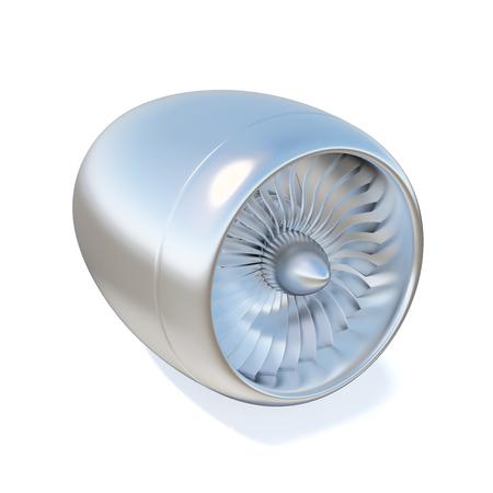 turbojet: jet engine isolated on white background. 3d illustration