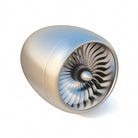 chrome metal: jet engine isolated on white background. 3d illustration