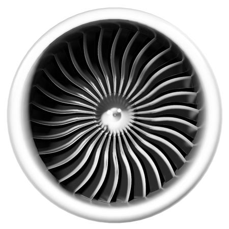 turbina: motor a reacción vista frontal aislado en el fondo blanco. illsutration 3d