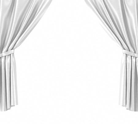 white curtain: empty, blank, white curtain isolated on white background. 3d illustration
