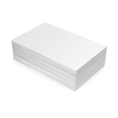 Stack of blank business card on white background. 3d illustration