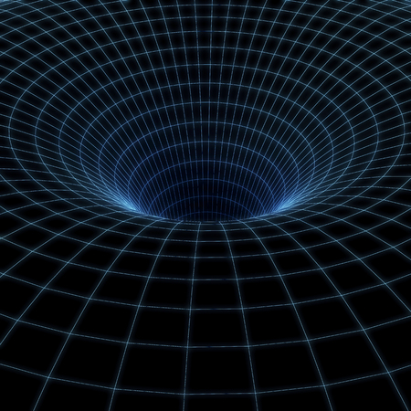 warp speed: Abstract black holes, wormholes, warp tunnel. 3d illustration